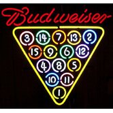 Budweiser 15 Ball Rack Neon Sign