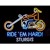 Motorcycle Ride 'Em Hard Sturgis Neon Sign