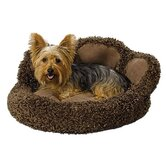 Quiet Time Boutique Paw Dog Bed with Comfy Bolster and Faux Suede Paw Pads in Brown