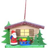 Cottage with Santa and Sled Ornament