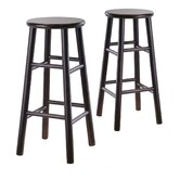 "Bevel Seat 30"" Bar Stool in Espresso (Set of 2)"