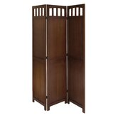 Three Panel Folding Screen in Antique Walnut