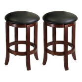 "24"" Faux Leather Swivel Stool in Antique Walnut (Set of 2)"