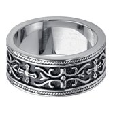 Men's Stainless Steel Gothic Cross Band