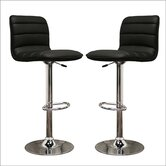 Baxton Studio Lyris Faux Leather Barstool in Black (Set of 2)