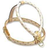 Elegance Dog Harness with Embossed Monogram in Beige