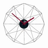 Wired Web Wall Clock in Black with Red Handle
