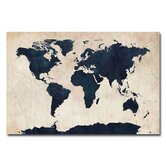 World Map Navy Canvas Wall Art