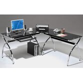 L-Shaped Glass Computer Desk with Chrome Frame