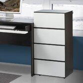 Allure 36&quot; Storage Cabinet in White and Ebony with 3 Drawers