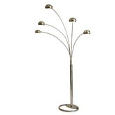 "Mushroom 87"" Five Light Arc Floor Lamp in Brushed Nickel"