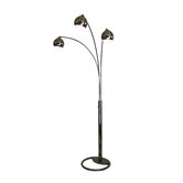 Triplet Three Light Arc Floor Lamp in Black nickel