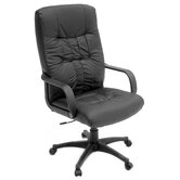 Posh High-Back Leather with Nylon Base Swivel Office Chair