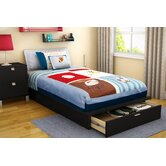 "Twin 39"" Platform Bed with Drawer in Pure Black"