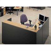 "Unity Series 72"" x 72"" Reception Desk with Matching Double Large Drawer Pedestal"