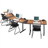 "Smart Tables: 18"" x 48"" Rectangle Thermofused Melamine Conference Table With Fixed Bases and 30 Degree Corner Wedges"