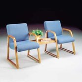 Scoop Ganging Guest Arm Chair with Wood Arm