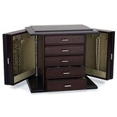 Diva Dark Mahogany Jewelry Chest with Pale Sage Lining