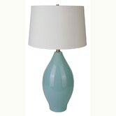 Ceramic Curved Table Lamp in Sky Blue