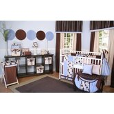 Minky Blue Chocolate Polka Dot 4 Piece Crib Bedding Set