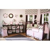 Minky Pink Chocolate Polka Dot Crib Bedding Collection