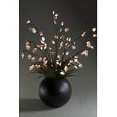 Lighted Silver Dollar Branches and Grass in Planter
