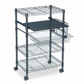 Multipurposeose Wire Cart, Three Shelves, 23-1/2 x 15 x 37-1/2, Black