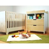 Hiya Two Piece Convertible Crib Set in Birch / White