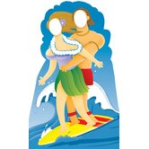 Surfer Couple Stand-In Life-Size Cardboard Stand-Up