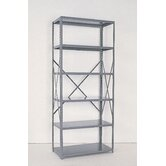 Industrial Clip Open Shelving: Angle Post Units with 6 Shelf Frames; Starter Unit
