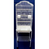 Shall Top Small Bird Cage with Stand in White