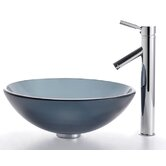 Frosted Black Glass Vessel Sink and Sheven Faucet
