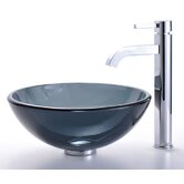 Clear Black Glass Vessel Sink and Ramus Faucet