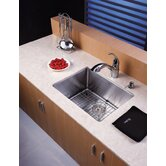 "23"" Undermount Single Bowl Kitchen Sink with 14.4"" Faucet in Chrome and Soap Dispenser"