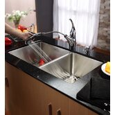 33&quot; Undermount 70/30 Double Bowl Kitchen Sink with 11&quot; Faucet and Soap Dispenser