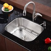 "Stainless Steel Undermount 23"" Single Bowl Kitchen Sink with 14.5"" Kitchen Faucet and Soap Dispenser"