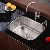 "Stainless Steel Undermount 23"" Single Bowl Kitchen Sink with 14"" Kitchen Faucet and Soap Dispenser"