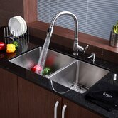 "Stainless Steel Undermount 33"" 70/30 Double Bowl Kitchen Sink with Kitchen Faucet and Soap Dispenser"