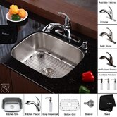 "Stainless Steel Undermount 23"" Single Bowl Kitchen Sink with 11"" Kitchen Faucet and Soap Dispenser"