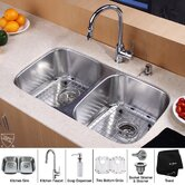 "32"" Undermount 50/50 Double Bowl Kitchen Sink with 15"" Faucet and Soap Dispenser"