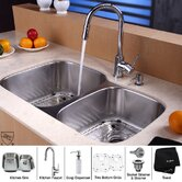 "32"" Undermount 60/40 Double Bowl Kitchen Sink with 15"" Faucet and Soap Dispenser"