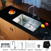 "30"" Undermount Single Bowl Kitchen Sink with 15"" Faucet and Soap Dispenser in Chrome"