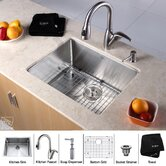 "23"" Undermount Single Bowl Kitchen Sink with Faucet in Chrome and Soap Dispenser"