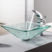 Clear Aquamarine Glass Vessel Sink and Single Hole Faucet with Single Handle