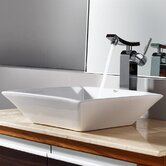 Combos Square Ceramic Sink and Single Hole Faucet with Single Hande