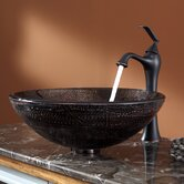Copper Illusion Glass Vessel Sink and Ventus Faucet
