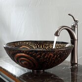 Luna Glass Vessel Sink and Riviera Faucet