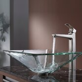 Clear Aquamarine Glass Vessel Sink and Virtus Faucet