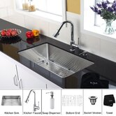 30 inch Undermount Single Bowl Stainless Steel Kitchen Sink with Chrome Kitchen Faucet