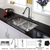 33 inch Double Bowl Stainless Steel Kitchen Sink with Chrome Kitchen Faucet and Soap Dispenser